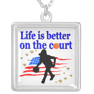 LIFE IS BETTER ON THE COURT USA DESIGN SILVER PLATED NECKLACE