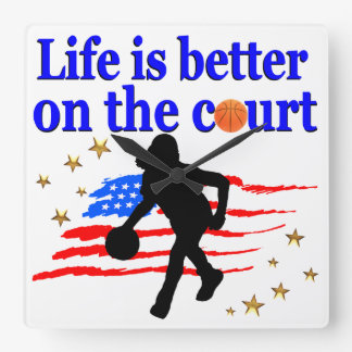 LIFE IS BETTER ON THE COURT USA DESIGN SQUARE WALL CLOCK
