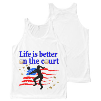 LIFE IS BETTER ON THE COURT USA VOLLEYBALL DESIGN All-Over-Print TANK TOP