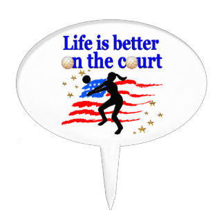 LIFE IS BETTER ON THE COURT USA VOLLEYBALL DESIGN CAKE TOPPER