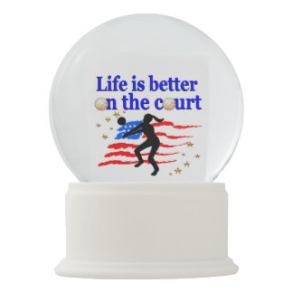 LIFE IS BETTER ON THE COURT USA VOLLEYBALL DESIGN SNOW GLOBE
