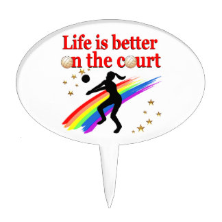 LIFE IS BETTER ON THE COURT VOLLEYBALL DESIGN CAKE TOPPER