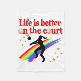 LIFE IS BETTER ON THE COURT VOLLEYBALL DESIGN FLEECE BLANKET