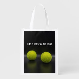 Life is better on the court with tennis ball grocery bag