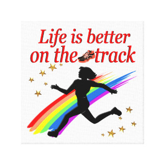 LIFE IS BETTER ON THE TRACK RUNNER DESIGN CANVAS PRINT