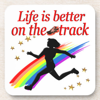 LIFE IS BETTER ON THE TRACK RUNNER DESIGN DRINK COASTER