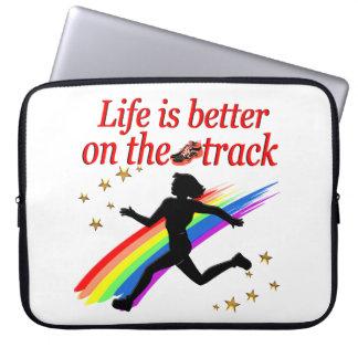 LIFE IS BETTER ON THE TRACK RUNNER DESIGN LAPTOP SLEEVE