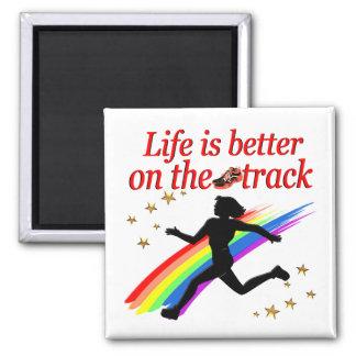 LIFE IS BETTER ON THE TRACK RUNNER DESIGN MAGNET