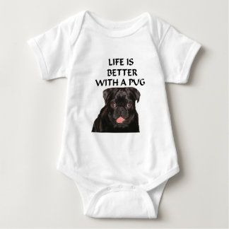 life is better pug baby bodysuit
