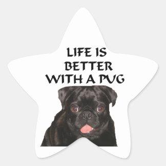 life is better pug star sticker