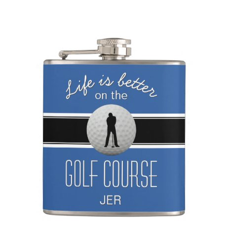 Life is Better Quote Golf Ball Monogram Blue Black Flask