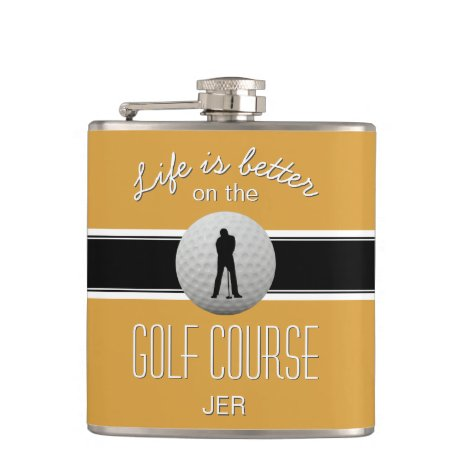 Life is Better Quote Golfing Monogram Yellow Black Flask