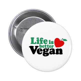 Life Is Better Vegan 2 Inch Round Button