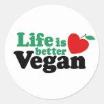 Life Is Better Vegan Classic Round Sticker