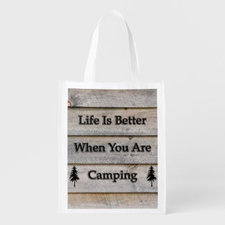 Life is better when you are camping grocery bag