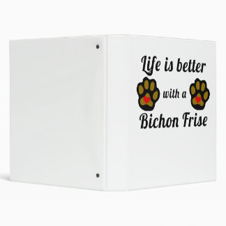 Life Is Better With A Bichon Frise Vinyl Binder