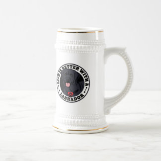 Life Is Better With A Black Labrador Dog Breed Beer Stein