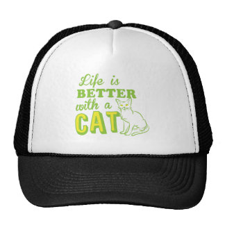 life is better with a cat trucker hat