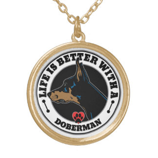 Life Is Better With A Doberman Gold Plated Necklace