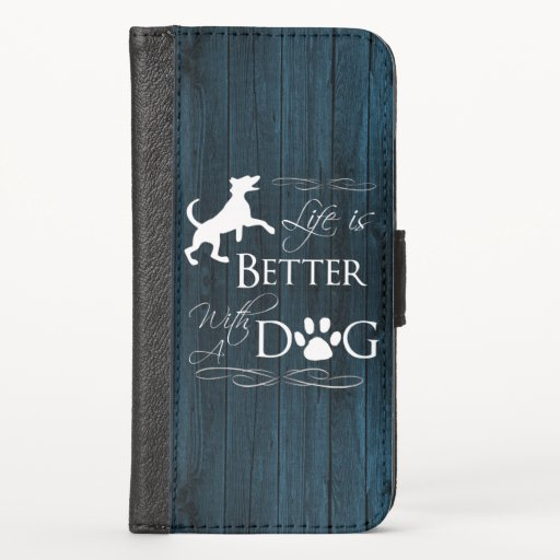 Life is better with a Dog iPhone Wallet - Blue