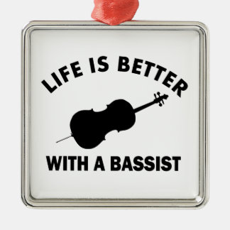 Life is better with a double bass metal ornament