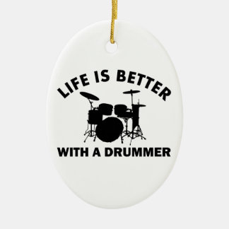 Life is better with a drummer Double-Sided oval ceramic christmas ornament