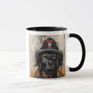 """""""Life is Better With a Firefighter"""" Black Lab Mug"""