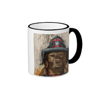 """""""Life is Better With a Firefighter"""" Chocolate Lab Ringer Coffee Mug"""