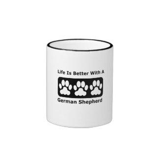 Life Is Better With A German Shepherd Ringer Coffee Mug