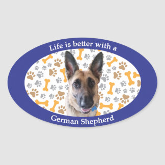 Life is better with a German Shepherd Oval Sticker