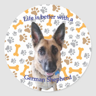 Life is better with a German Shepherd Classic Round Sticker