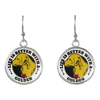 Life Is Better With A Golden Retriever Earrings
