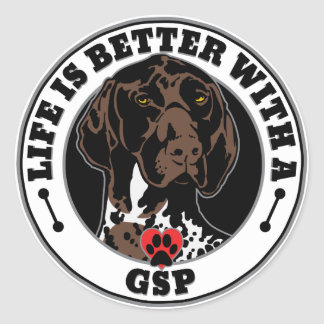 Life Is Better With A GSP Dog Breed Classic Round Sticker