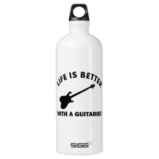 Life is better with a GUITARIST Aluminum Water Bottle