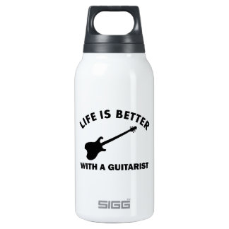 Life is better with a GUITARIST 10 Oz Insulated SIGG Thermos Water Bottle