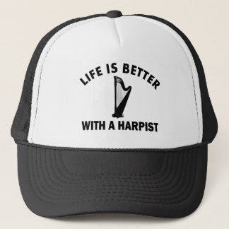 Life is better with a harpist trucker hat