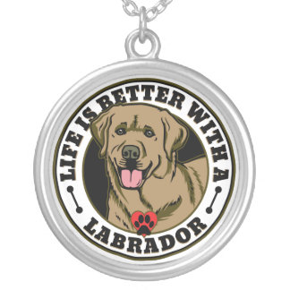 Life Is Better With A Labrador - Tan Round Pendant Necklace