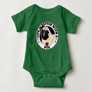Life Is Better With A Pug Dog Breed Baby Bodysuit