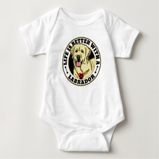 Life Is Better With A White Labrador Dog Breed Baby Bodysuit