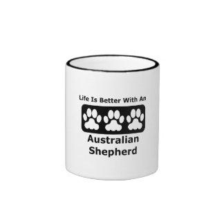 Life Is Better With An Australian Shepherd Ringer Coffee Mug