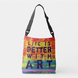 Life is Better with Art- Sunny Yellow Abstract Art Crossbody Bag