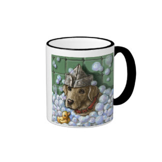 """""""Life is Better With Bubbles"""" Yellow Lab Bathtub Ringer Coffee Mug"""