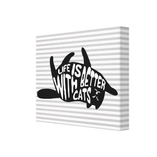 Life is better with cats | Fun Typography Canvas Print