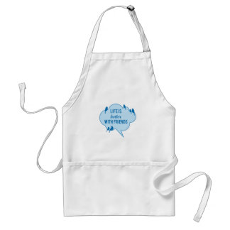 Life is better with friends, birds on blue cloud adult apron