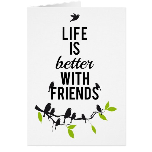 Life is better with friends, with birds on tree cards