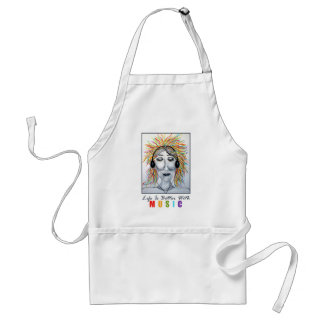 Life Is Better With Music Art Adult Apron