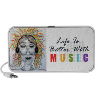 Life Is Better With Music Art iPod Speaker