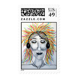 Life Is Better With Music Art Postage