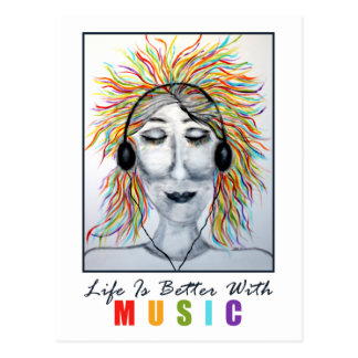 Life Is Better With Music Art Postcard