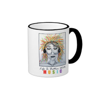 Life Is Better With Music Art Ringer Coffee Mug